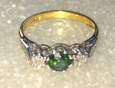 18 ct gold natural emerald & dia  two tone , platinum& yellow gold  #002