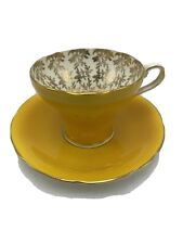 Vintage Aynsley Dark Yellow Bone China Tea Cup & Saucer Gold Leaves Inside Engla