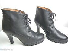 Bottines Boots TEXTO à Lacets Cuir Noir Hauts Talons T 38 TBE