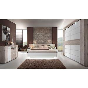Schlafzimmer 3 Rondino Komplett Set in Sandeiche und weiß Hochglanz inkl. LED