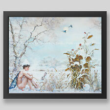 "Kirill Fadeyev authored PRINT ""WINTER"" 13x19 in nude gay art men boy triptych"