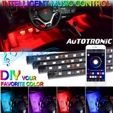 4X 12-LED RGB USB Car Interior Auto Under Dash Footwell Inside Light APP Control