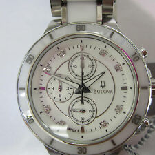 BULOVA JAPAN MEN'S WATCH CHRONO DIAMOND ALL CERAMIC CASE & BAND ORIGINAL 98P125