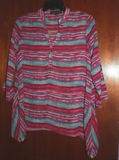 New Simply Irresistible Top Pink Green Blue Stripes Sheer Long Sides Size Small