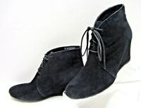 CLARKS ARTISAN ROSEPOINT DEW WOMENS SZ 10M BLACK SUEDE LEATHER WEDGE ANKLE BOOTS