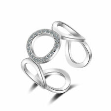 Ladies Solid 925 Sterling Silver Zircon Openwork O Band Ring Size 7 Adjustable