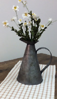 Metal  FARMHOUSE PITCHER French Country Rustic Vintage Look Vase Farm Distressed