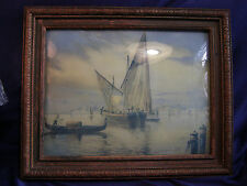 Antique Framed Print Sunset Venice Canal Wood Frame Convex Glass  Thomas Moran??