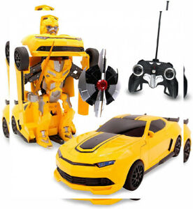 Kids RC Toy Sports Car Transforming Robot Remote Control with One Yellow 2