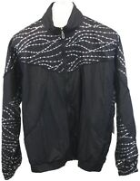Afi Sport Ladies Womens Black Silver Zip Up Long Sleeve Windbreaker Jacket Sz L