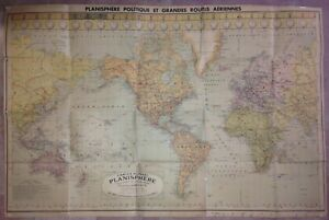 PLANISPHERE ANTIQUE WALL MAP with AIR ROUTES 1930 by BLONDEL LA ROUGERY 20th C.