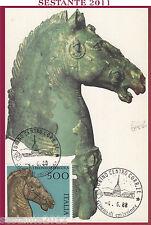 ITALIA MAXIMUM MAXI CARD 1988 I BRONZI DI PERGOLA ANNULLO TORINO B5