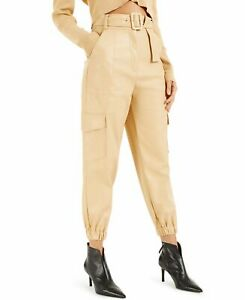 INC Womens Pants Beige Size 2 Cargo Faux-Leather High-Rise Belted $99- 528