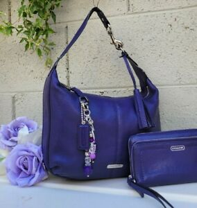 Coach Avery 2pc Leather Hobo Shoulder Bag 23960 Handbag Purse+ wallet indigo