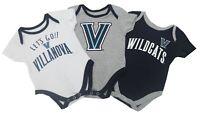Villanova Wildcats Official NCAA Baby Infant Size 3 Piece Creeper Combo Set New