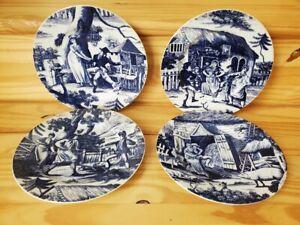 "4 Blue & White Toile de Jouy 8"" Plates Country Courtship Authentic Cottagecore"