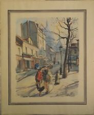 Aquarelle vers 1950 Montmartre Place du Tertre Paris signature?