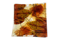 Iridescent Leaf Embossed Etched Autumn Leaves Glass Tray Dish bronze square