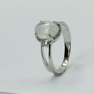 Size 9 Blazing Blue Rainbow MOONSTONE Ring 925 STERLING SILVER Rhodium #450
