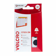 VELCRO® Hook & Loop Stick On Coins 16mm - Black or White - 16 Sets