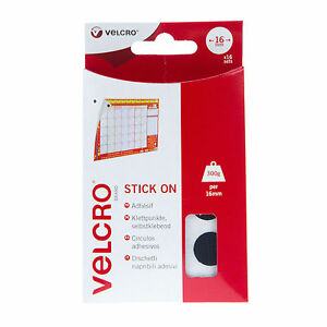 VELCRO Hook & Loop Stick On Coins - 16mm Black or White - 16 Sets