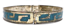"""MEXICO MEXICAN DESIGNER CRUSHED TURQUOISE INLAY STERLING SILVER BRACELET 6 7/8"""""""