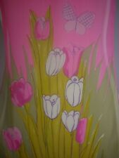 """VERA Hand Rolled Silk Scarf, Sheer, Pink, Yellow, Green, Rectangle, 42"""" x 14"""""""