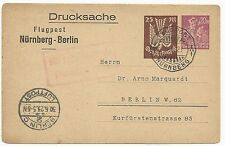 Germany H&G #K61 Postal Stationery Cover Flugpost Nurnberg-Berlin 1923