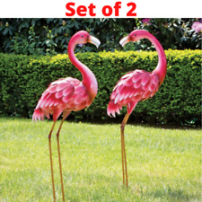 Metal Flamingo Garden Statues Large Bird Sculptures Outdoor Patio Decor Yard Art