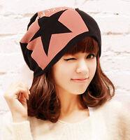Women Cotton Star Thermal Fleece inner Black Rasta Baggy warm beanie Hat Cap