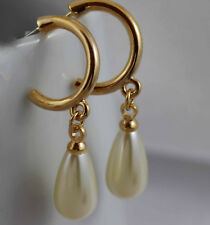 14ct 14k Yellow gold GF Dangle Teardrop White Pearl Earrings