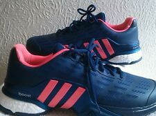 ADIDAS BARRICADE BOOST MENS TENNIS SHOE TRAINER STEEL BLUE/PINK SIZE 12 UK NEW