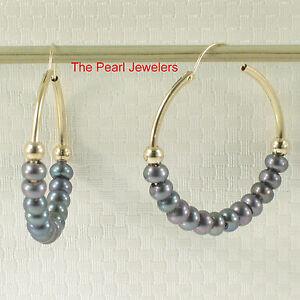 14k Yellow Gold 25 X1.25 mm Hoop; 3-4mm White/ Black Cultured Pearl Earrings TPJ