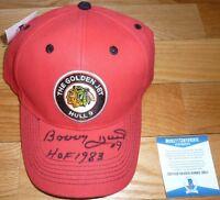 BECKETT-BAS BOBBY HULL CHICAGO BLACKHAWKS SGA AUTOGRAPHED-SIGNED CAP-HAT D85111