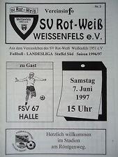 Programm 1996/97 SV Rot Weiß Weißenfels - FSV 67 Halle