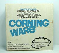 "VINTAGE NIB CORNING WARE BLUE CORNFLOWER A-8 Covered 1 1/2 QT. Skillet 8"" Sealed"