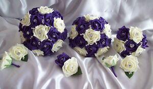 Wedding flowers Cadbury purple & ivory rose Bouquet Teardrop Posy Buttonholes