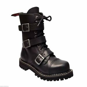 Angry Itch 10 Hole Black Leather Combat Boots 3 Buckle Army Ranger Steel Toe Zip