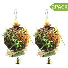 2 Pack Bird Chewing Toys Foraging Shredder Toy Parrot Cage Foraging Hanging Toy.