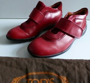 TOD'S JUNIOR GIRLS RED LEATHER HOOK AND LOOP CLOSURE SHOES UK SIZE 2