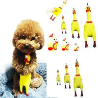 1PC Screaming Rubber Chicken Pet Dog Bite Toy Squeak Squeaker Chew Yellow 31cm