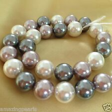 14.5mm Multi Color Round South Sea Shell Pearls Loose Beads 1 Strand