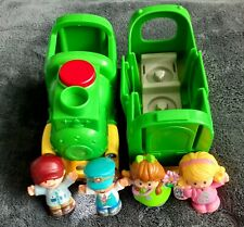 Fisher Price 2016 with 4 Little People Green Train with  Sounds and Lights Works