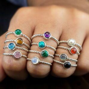 925 Sterling Silver Black Onyx Labradorite Round Gemstone Ladies Bubble Ring