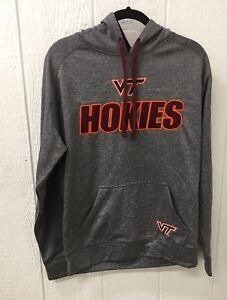 NWT VIRGINIA TECH Hokies Men's Embroidered Hoodie SMALL Grey W/Maroon & Orange