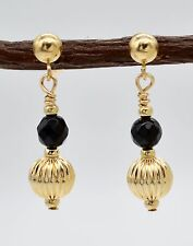 14K Solid Gold Faceted Onyx Black & Corrugated Beaded Drop Earrings