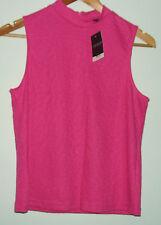 BNWT Topshop High Neck Pink Animal Jaquard Sleeveless Top, Size 8