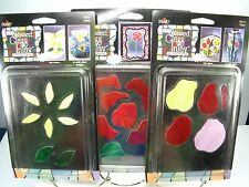 NIB Plaid STAINED GLASS INLAY By Vicki Payne NEW Lot Of 3 - ROSE TULIP DAISY