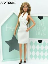 White Backless Dress For Barbie Doll Clothes Evening Dress 1/6 Doll Accessories