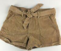 Zara Girls Kids Corduroy Adjustable Waist Shorts Size 11 12 Tan Camel
